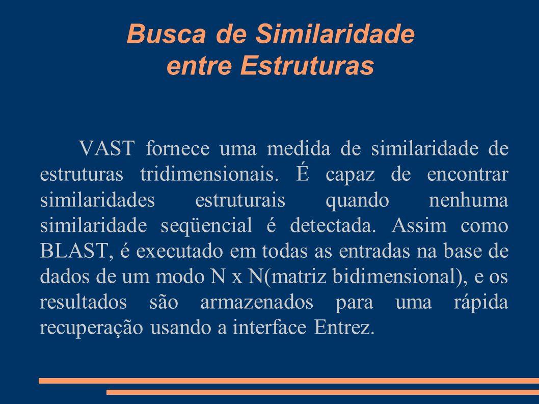 Busca de Similaridade entre Estruturas VAST fornece uma medida de similaridade de estruturas tridimensionais. É capaz de encontrar similaridades estru