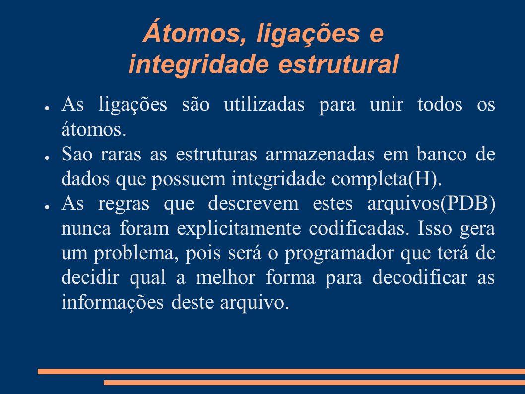 Átomos, ligações e integridade estrutural As ligações são utilizadas para unir todos os átomos. Sao raras as estruturas armazenadas em banco de dados