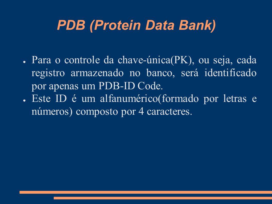 PDB (Protein Data Bank) Para o controle da chave-única(PK), ou seja, cada registro armazenado no banco, será identificado por apenas um PDB-ID Code. E