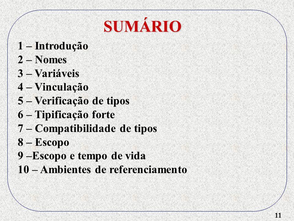 11 SUMÁRIO 1 – Introdução 2 – Nomes 3 – Variáveis 4 – Vinculação 5 – Verificação de tipos 6 – Tipificação forte 7 – Compatibilidade de tipos 8 – Escopo 9 –Escopo e tempo de vida 10 – Ambientes de referenciamento