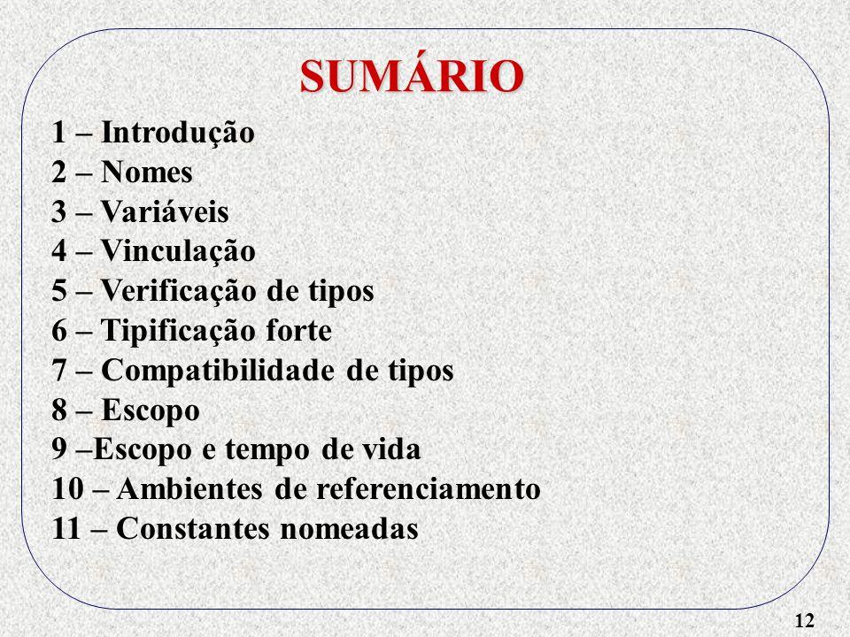 12 SUMÁRIO 1 – Introdução 2 – Nomes 3 – Variáveis 4 – Vinculação 5 – Verificação de tipos 6 – Tipificação forte 7 – Compatibilidade de tipos 8 – Escopo 9 –Escopo e tempo de vida 10 – Ambientes de referenciamento 11 – Constantes nomeadas
