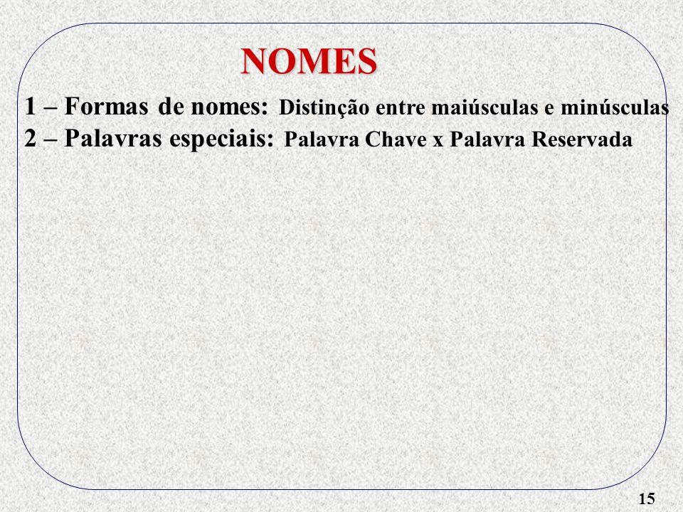 15 NOMES 1 – Formas de nomes: Distinção entre maiúsculas e minúsculas 2 – Palavras especiais: Palavra Chave x Palavra Reservada