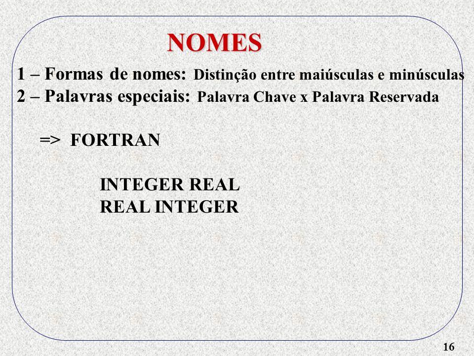 16 NOMES 1 – Formas de nomes: Distinção entre maiúsculas e minúsculas 2 – Palavras especiais: Palavra Chave x Palavra Reservada => FORTRAN INTEGER REAL REAL INTEGER