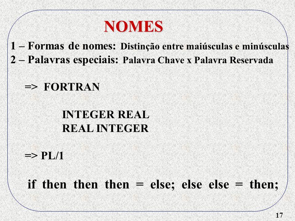 17 NOMES 1 – Formas de nomes: Distinção entre maiúsculas e minúsculas 2 – Palavras especiais: Palavra Chave x Palavra Reservada => FORTRAN INTEGER REAL REAL INTEGER => PL/1 if then then then = else; else else = then;