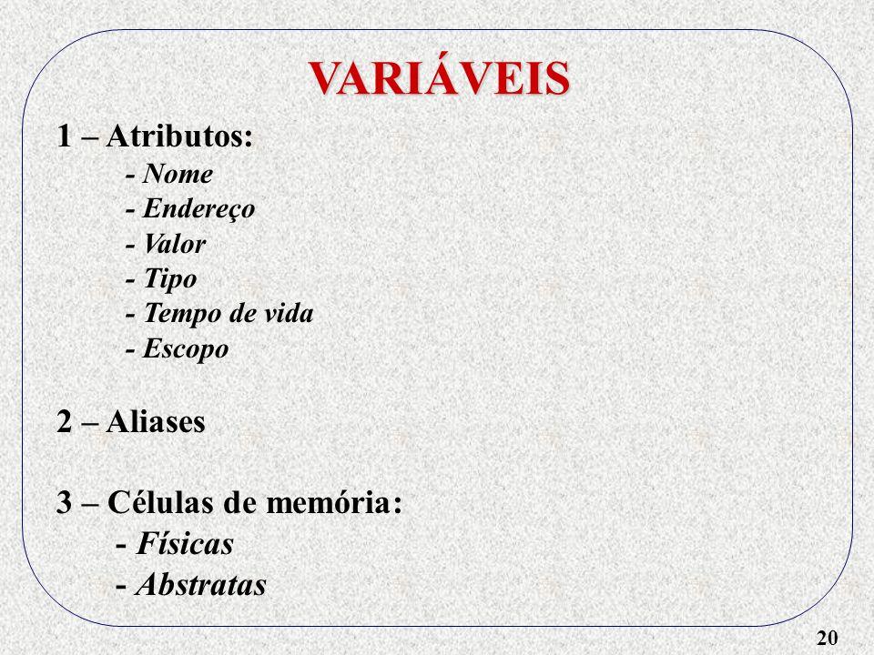 20 VARIÁVEIS 1 – Atributos: - Nome - Endereço - Valor - Tipo - Tempo de vida - Escopo 2 – Aliases 3 – Células de memória: - Físicas - Abstratas