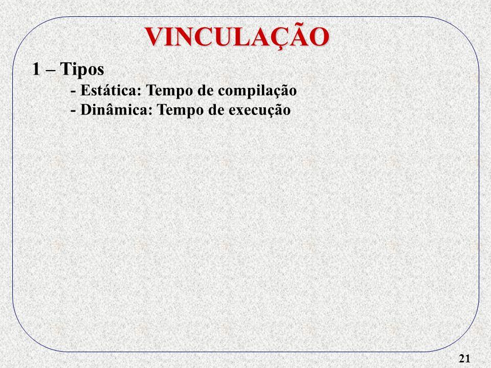 21 VINCULAÇÃO 1 – Tipos - Estática: Tempo de compilação - Dinâmica: Tempo de execução