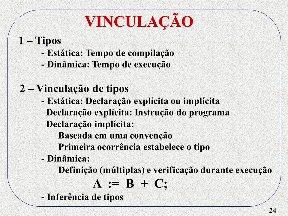 24 VINCULAÇÃO 1 – Tipos - Estática: Tempo de compilação - Dinâmica: Tempo de execução 2 – Vinculação de tipos - Estática: Declaração explícita ou implícita Declaração explícita: Instrução do programa Declaração implícita: Baseada em uma convenção Primeira ocorrência estabelece o tipo - Dinâmica: Definição (múltiplas) e verificação durante execução A := B + C; - Inferência de tipos