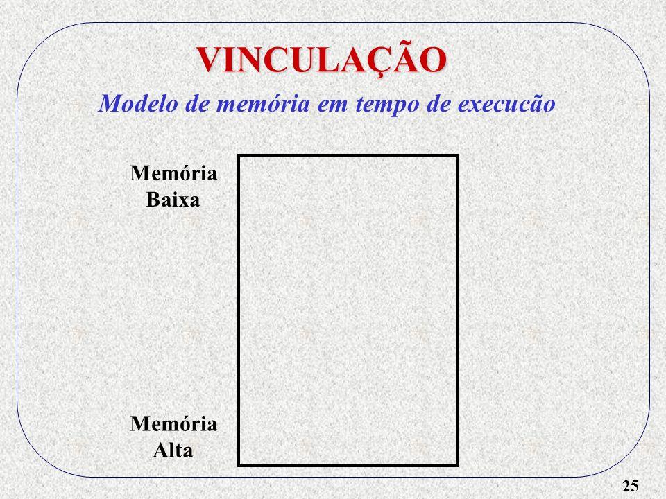 25 VINCULAÇÃO Modelo de memória em tempo de execucão Memória Baixa Memória Alta