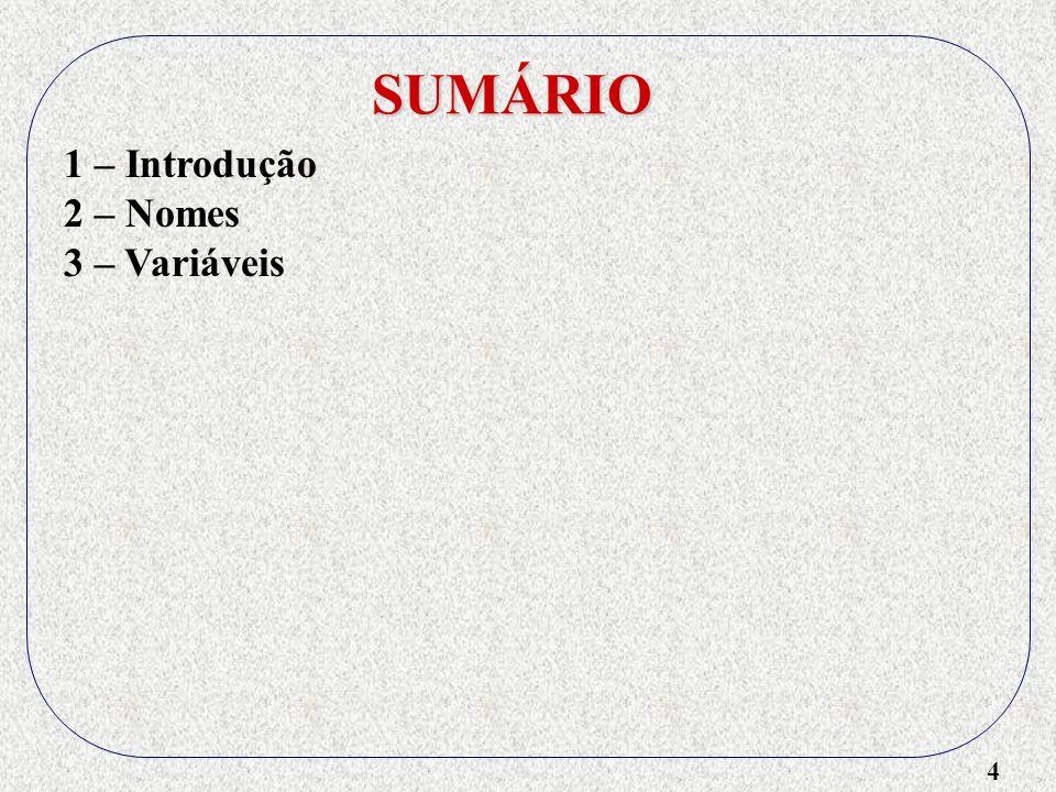4 SUMÁRIO 1 – Introdução 2 – Nomes 3 – Variáveis