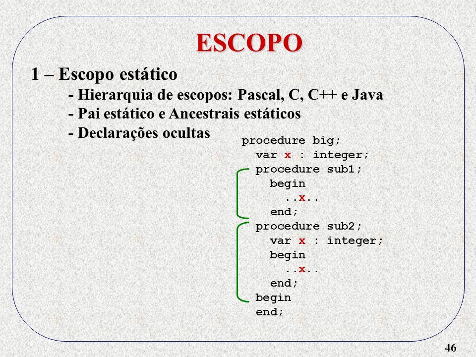 46 ESCOPO 1 – Escopo estático - Hierarquia de escopos: Pascal, C, C++ e Java - Pai estático e Ancestrais estáticos - Declarações ocultas procedure big; var x : integer; procedure sub1; begin..x..