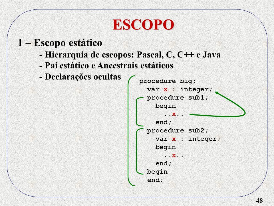 48 ESCOPO 1 – Escopo estático - Hierarquia de escopos: Pascal, C, C++ e Java - Pai estático e Ancestrais estáticos - Declarações ocultas procedure big; var x : integer; procedure sub1; begin..x..
