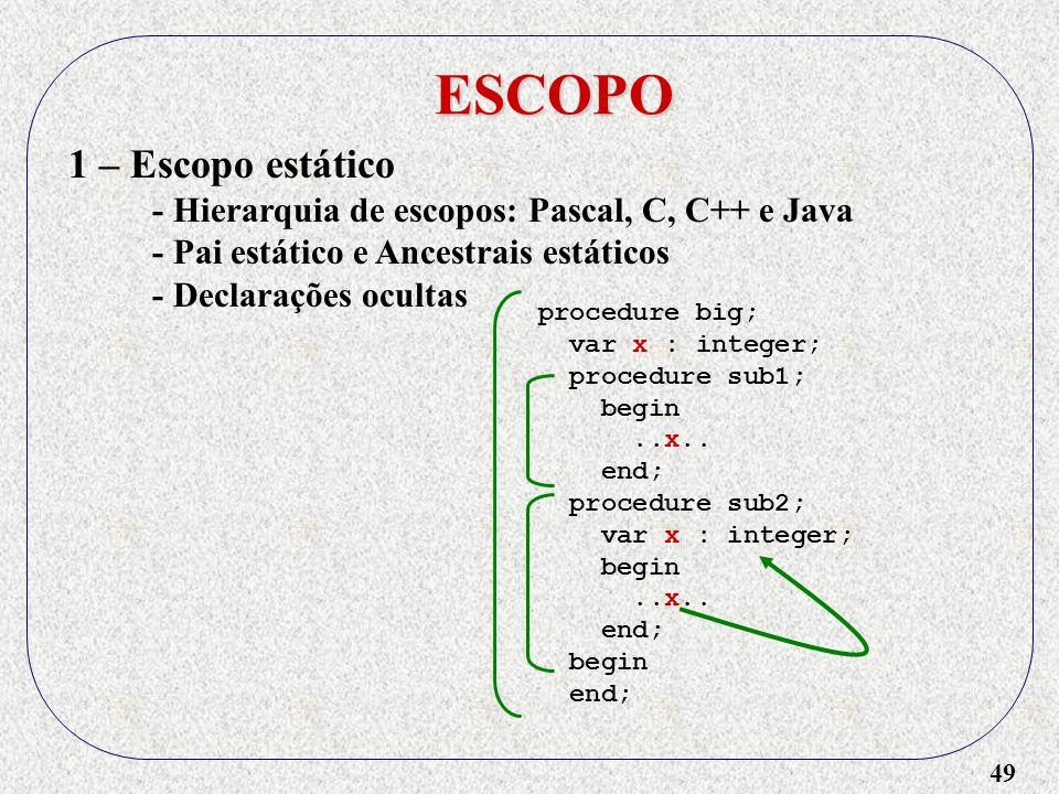 49 ESCOPO 1 – Escopo estático - Hierarquia de escopos: Pascal, C, C++ e Java - Pai estático e Ancestrais estáticos - Declarações ocultas procedure big; var x : integer; procedure sub1; begin..x..