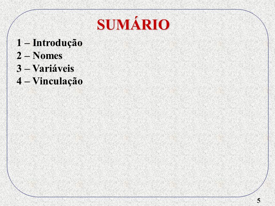 5 SUMÁRIO 1 – Introdução 2 – Nomes 3 – Variáveis 4 – Vinculação