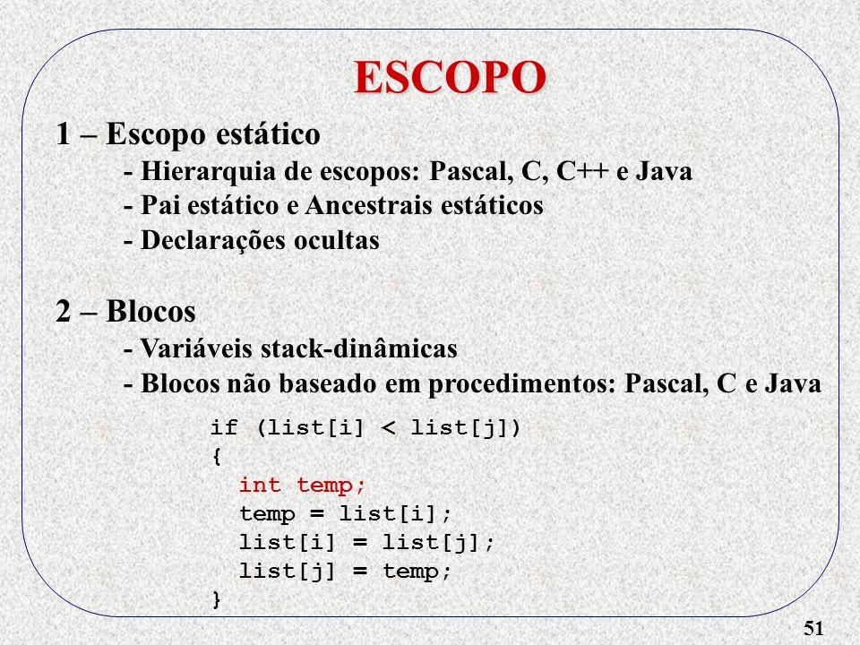 51 ESCOPO 1 – Escopo estático - Hierarquia de escopos: Pascal, C, C++ e Java - Pai estático e Ancestrais estáticos - Declarações ocultas 2 – Blocos - Variáveis stack-dinâmicas - Blocos não baseado em procedimentos: Pascal, C e Java if (list[i] < list[j]) { int temp; temp = list[i]; list[i] = list[j]; list[j] = temp; }