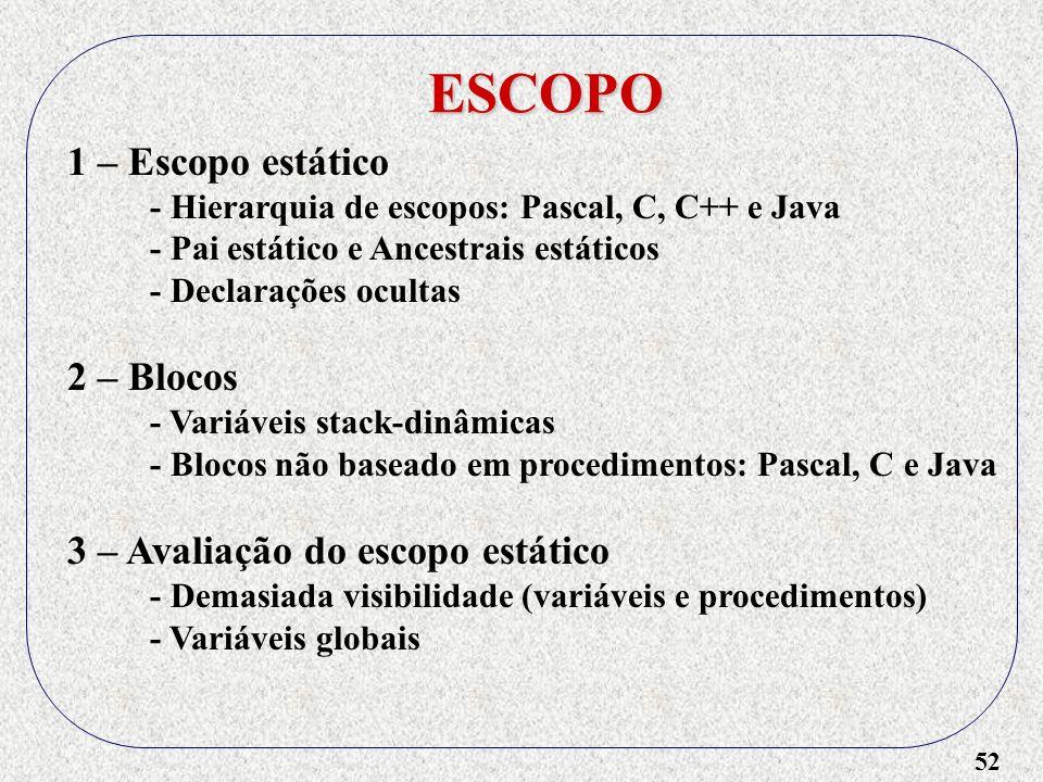 52 ESCOPO 1 – Escopo estático - Hierarquia de escopos: Pascal, C, C++ e Java - Pai estático e Ancestrais estáticos - Declarações ocultas 2 – Blocos - Variáveis stack-dinâmicas - Blocos não baseado em procedimentos: Pascal, C e Java 3 – Avaliação do escopo estático - Demasiada visibilidade (variáveis e procedimentos) - Variáveis globais