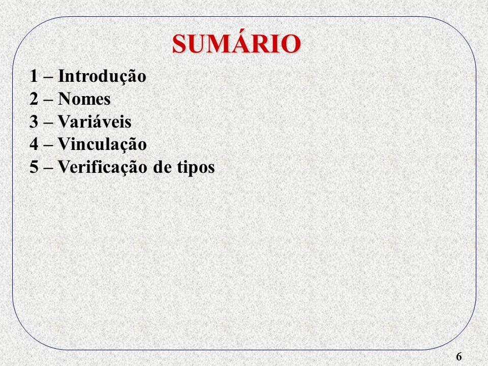 6 SUMÁRIO 1 – Introdução 2 – Nomes 3 – Variáveis 4 – Vinculação 5 – Verificação de tipos