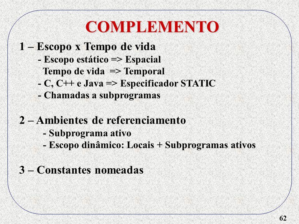 62 COMPLEMENTO 1 – Escopo x Tempo de vida - Escopo estático => Espacial Tempo de vida => Temporal - C, C++ e Java => Especificador STATIC - Chamadas a subprogramas 2 – Ambientes de referenciamento - Subprograma ativo - Escopo dinâmico: Locais + Subprogramas ativos 3 – Constantes nomeadas