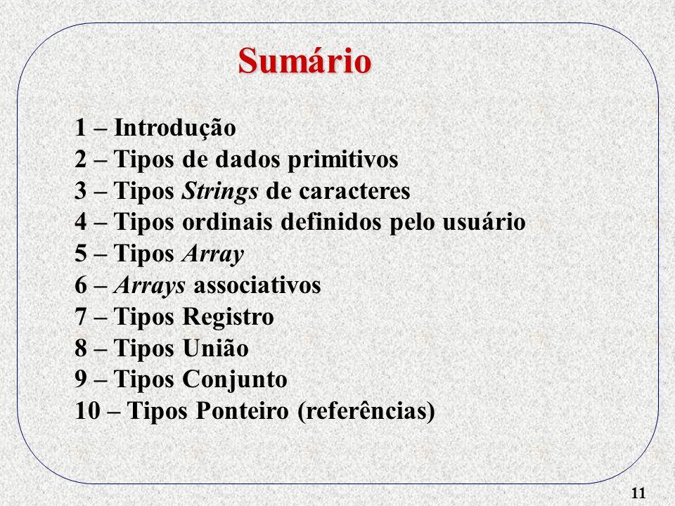 11 1 – Introdução 2 – Tipos de dados primitivos 3 – Tipos Strings de caracteres 4 – Tipos ordinais definidos pelo usuário 5 – Tipos Array 6 – Arrays associativos 7 – Tipos Registro 8 – Tipos União 9 – Tipos Conjunto 10 – Tipos Ponteiro (referências) Sumário