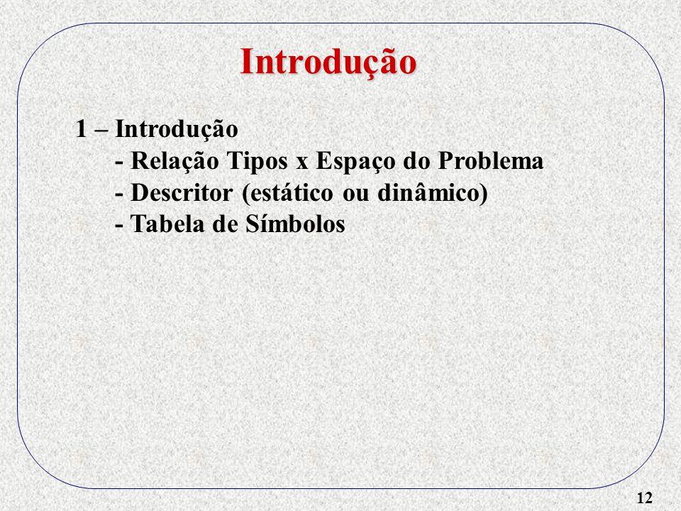 12 Introdução 1 – Introdução - Relação Tipos x Espaço do Problema - Descritor (estático ou dinâmico) - Tabela de Símbolos