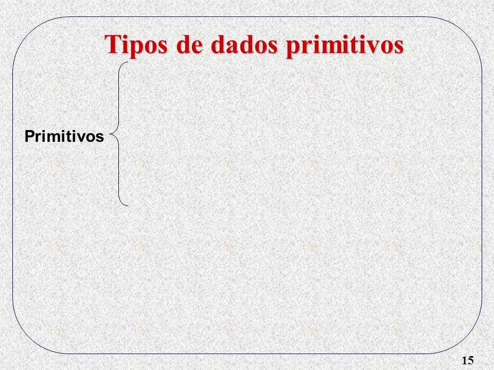 15 Tipos de dados primitivos Primitivos