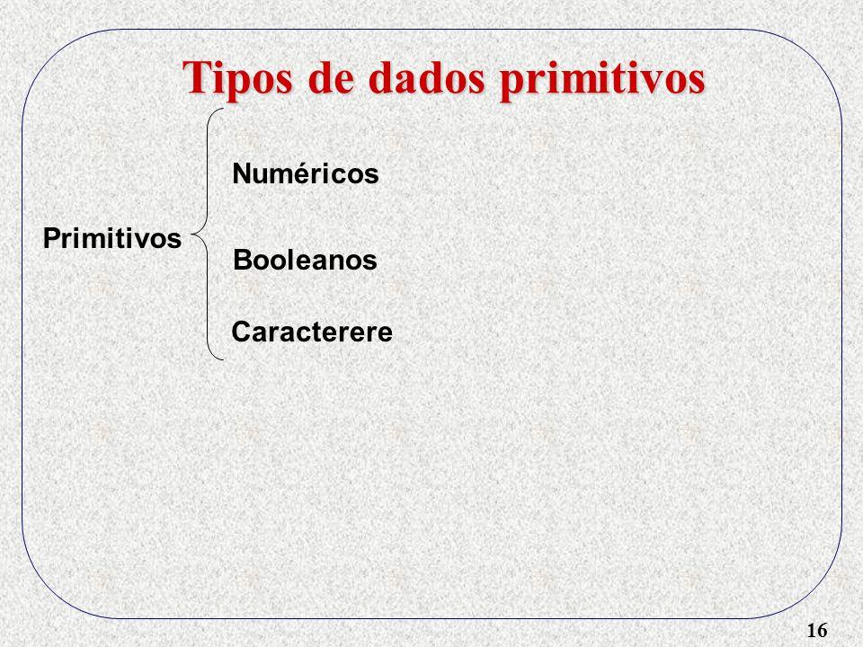 16 Tipos de dados primitivos Primitivos Numéricos Booleanos Caracterere