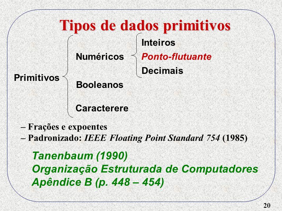 20 Tipos de dados primitivos Primitivos Numéricos Booleanos Caracterere Inteiros Ponto-flutuante – Frações e expoentes – Padronizado: IEEE Floating Point Standard 754 (1985) Tanenbaum (1990) Organização Estruturada de Computadores Apêndice B (p.
