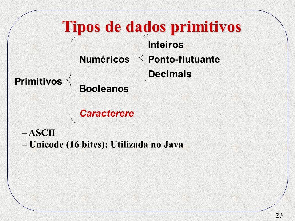 23 – ASCII – Unicode (16 bites): Utilizada no Java Tipos de dados primitivos Primitivos Numéricos Booleanos Caracterere Inteiros Ponto-flutuante Decimais