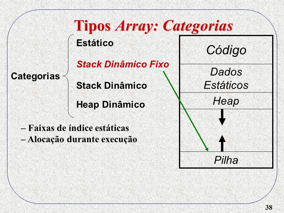 38 Tipos Array: Categorias Categorias Estático Stack Dinâmico Heap Dinâmico Stack Dinâmico Fixo Código Dados Estáticos Heap Pilha – Faixas de índice estáticas – Alocação durante execução