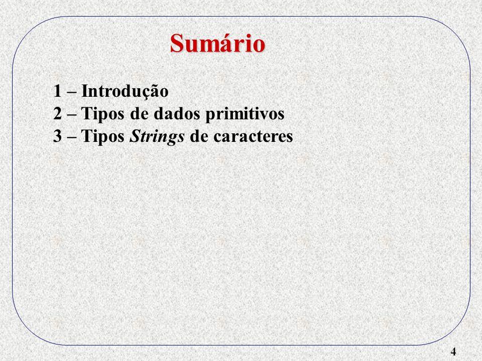 5 1 – Introdução 2 – Tipos de dados primitivos 3 – Tipos Strings de caracteres 4 – Tipos ordinais definidos pelo usuário Sumário