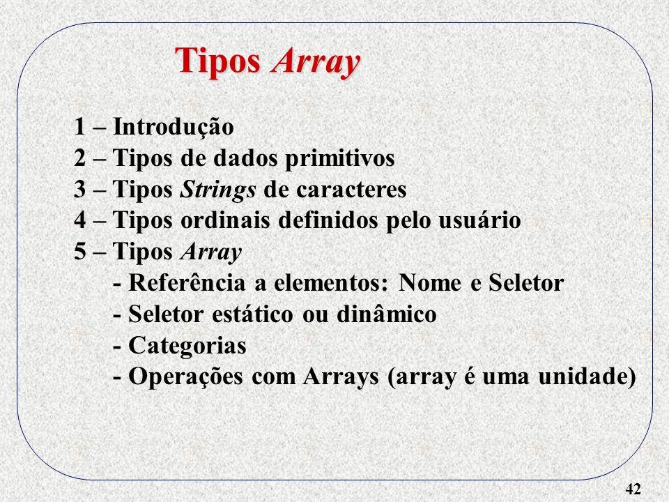 42 1 – Introdução 2 – Tipos de dados primitivos 3 – Tipos Strings de caracteres 4 – Tipos ordinais definidos pelo usuário 5 – Tipos Array - Referência a elementos: Nome e Seletor - Seletor estático ou dinâmico - Categorias - Operações com Arrays (array é uma unidade) Tipos Array