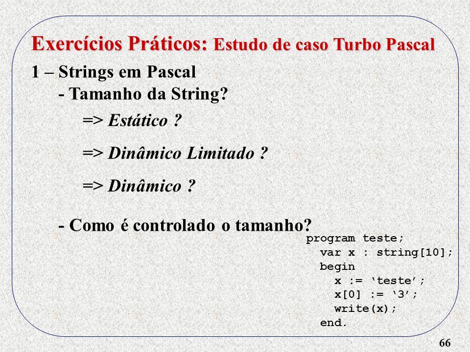 66 Exercícios Práticos: Estudo de caso Turbo Pascal 1 – Strings em Pascal - Tamanho da String.