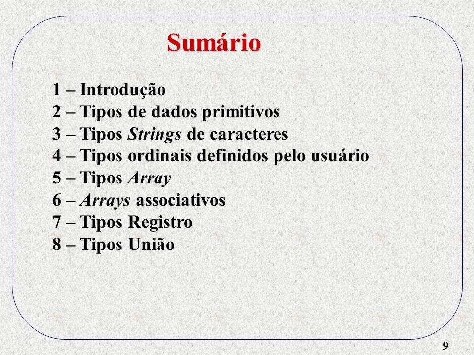 30 1 – Introdução 2 – Tipos de dados primitivos 3 – Tipos Strings de caracteres 4 – Tipos ordinais definidos pelo usuário 5 – Tipos Array - Referência a elementos: Nome e Seletor - Seletor estático ou dinâmico - Categorias ( esquema ): Onde e quando é alocado Tipos Array