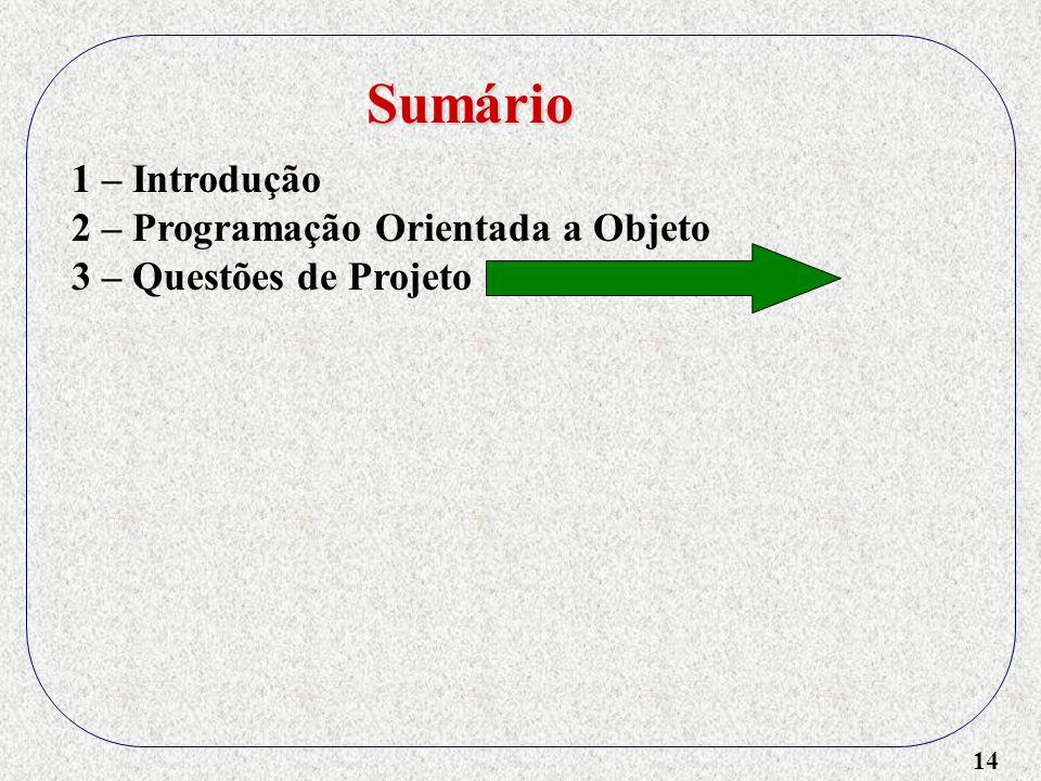 14 1 – Introdução 2 – Programação Orientada a Objeto 3 – Questões de Projeto Sumário