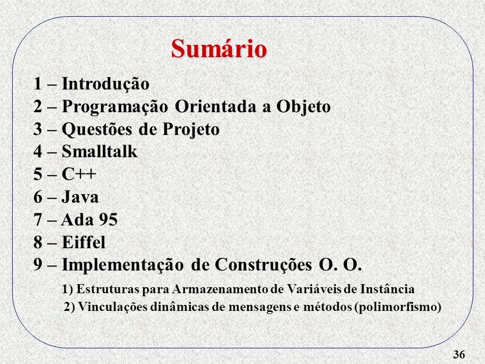 36 1 – Introdução 2 – Programação Orientada a Objeto 3 – Questões de Projeto 4 – Smalltalk 5 – C++ 6 – Java 7 – Ada 95 8 – Eiffel 9 – Implementação de