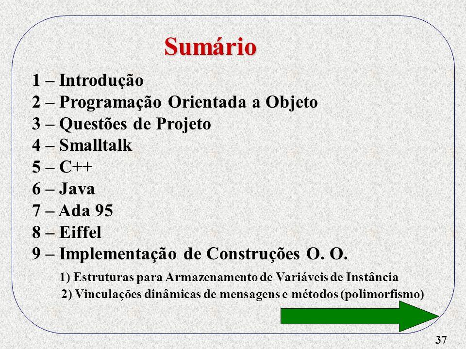 37 1 – Introdução 2 – Programação Orientada a Objeto 3 – Questões de Projeto 4 – Smalltalk 5 – C++ 6 – Java 7 – Ada 95 8 – Eiffel 9 – Implementação de