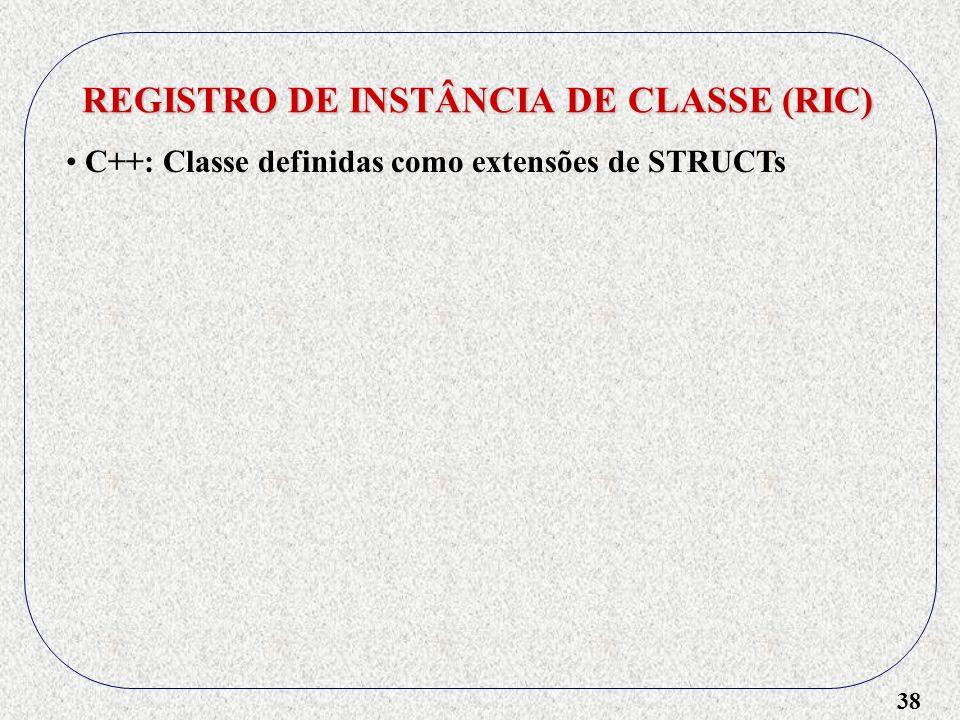 38 REGISTRO DE INSTÂNCIA DE CLASSE (RIC) C++: Classe definidas como extensões de STRUCTs