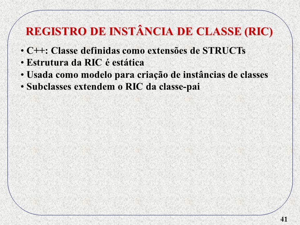 41 REGISTRO DE INSTÂNCIA DE CLASSE (RIC) C++: Classe definidas como extensões de STRUCTs Estrutura da RIC é estática Usada como modelo para criação de