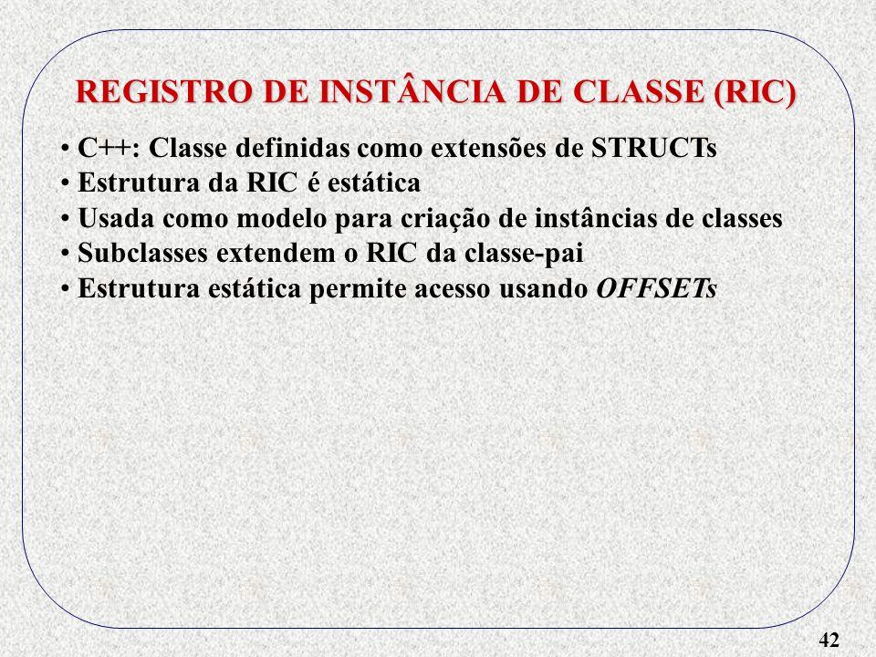 42 REGISTRO DE INSTÂNCIA DE CLASSE (RIC) C++: Classe definidas como extensões de STRUCTs Estrutura da RIC é estática Usada como modelo para criação de