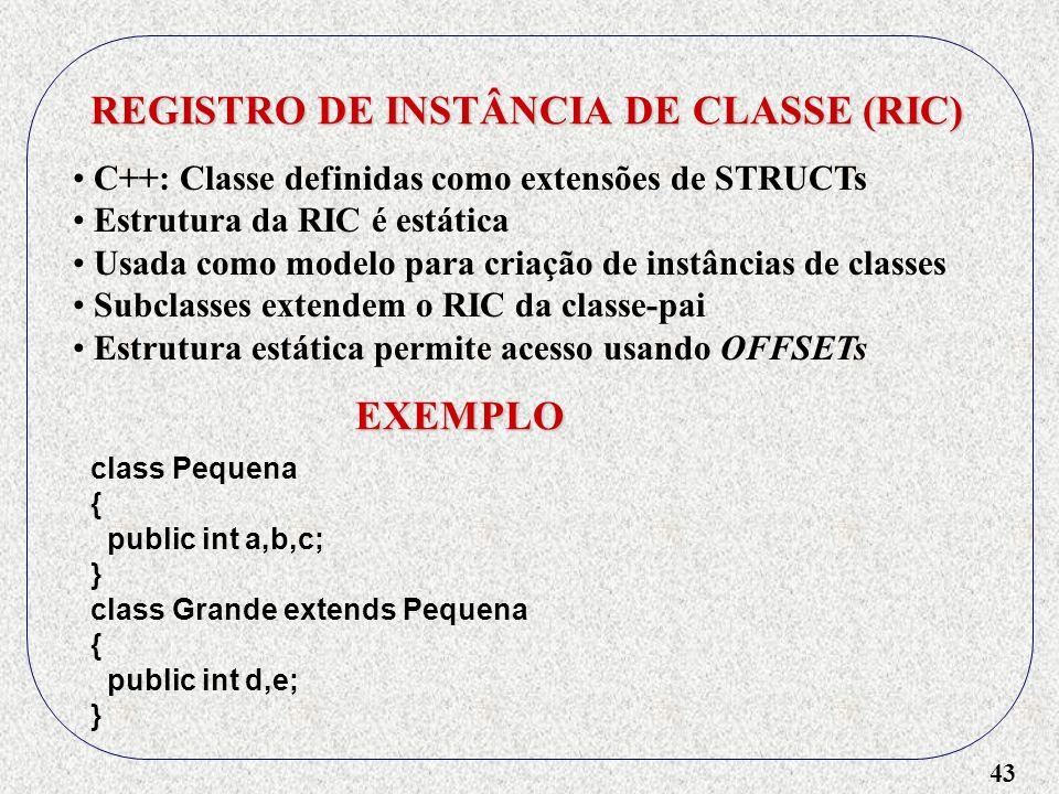 43 REGISTRO DE INSTÂNCIA DE CLASSE (RIC) C++: Classe definidas como extensões de STRUCTs Estrutura da RIC é estática Usada como modelo para criação de