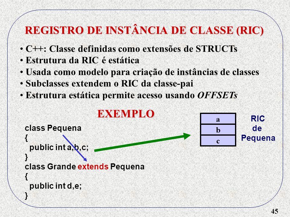 45 REGISTRO DE INSTÂNCIA DE CLASSE (RIC) C++: Classe definidas como extensões de STRUCTs Estrutura da RIC é estática Usada como modelo para criação de