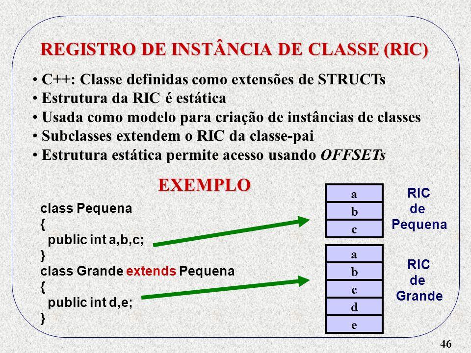 46 REGISTRO DE INSTÂNCIA DE CLASSE (RIC) C++: Classe definidas como extensões de STRUCTs Estrutura da RIC é estática Usada como modelo para criação de