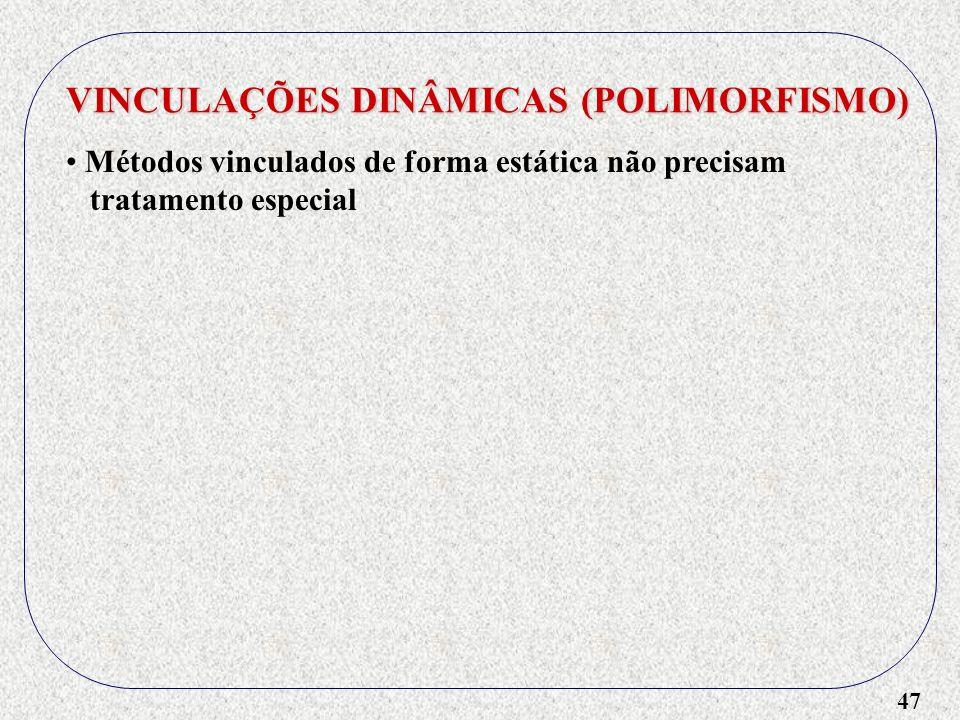 47 VINCULAÇÕES DINÂMICAS (POLIMORFISMO) Métodos vinculados de forma estática não precisam tratamento especial
