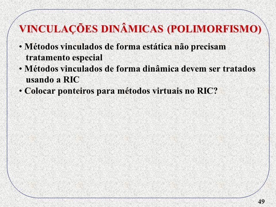 49 VINCULAÇÕES DINÂMICAS (POLIMORFISMO) Métodos vinculados de forma estática não precisam tratamento especial Métodos vinculados de forma dinâmica dev