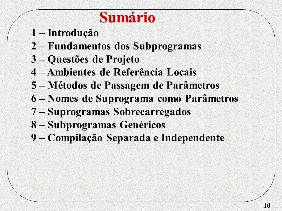 10 1 – Introdução 2 – Fundamentos dos Subprogramas 3 – Questões de Projeto 4 – Ambientes de Referência Locais 5 – Métodos de Passagem de Parâmetros 6