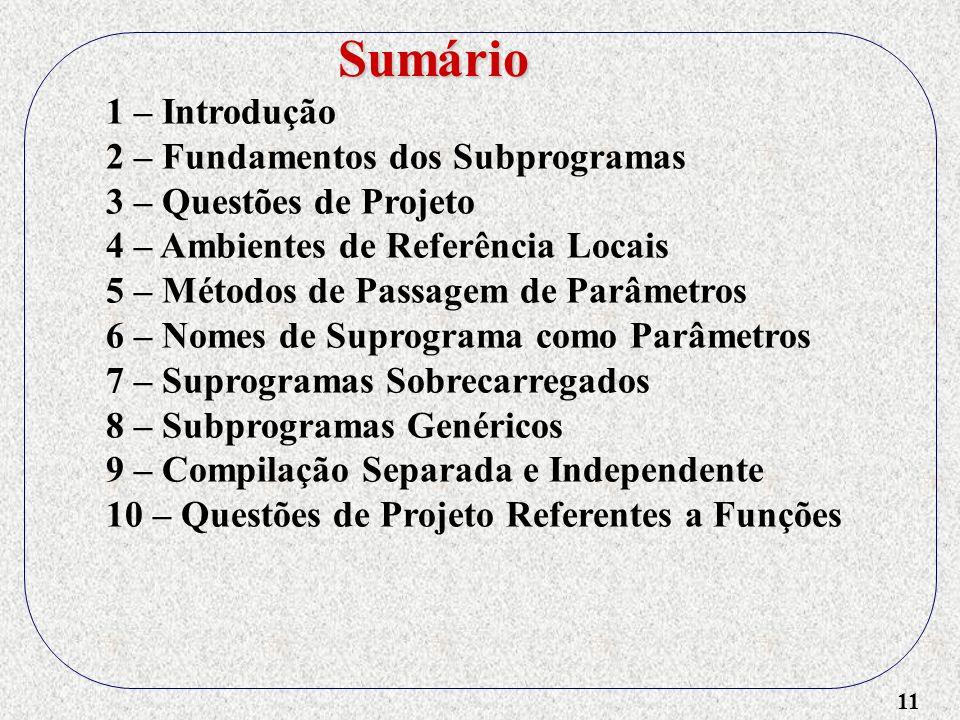 11 1 – Introdução 2 – Fundamentos dos Subprogramas 3 – Questões de Projeto 4 – Ambientes de Referência Locais 5 – Métodos de Passagem de Parâmetros 6