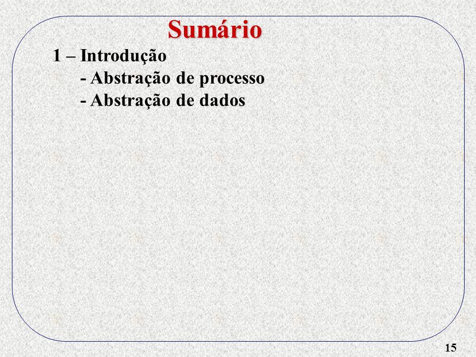 15 1 – Introdução - Abstração de processo - Abstração de dados Sumário