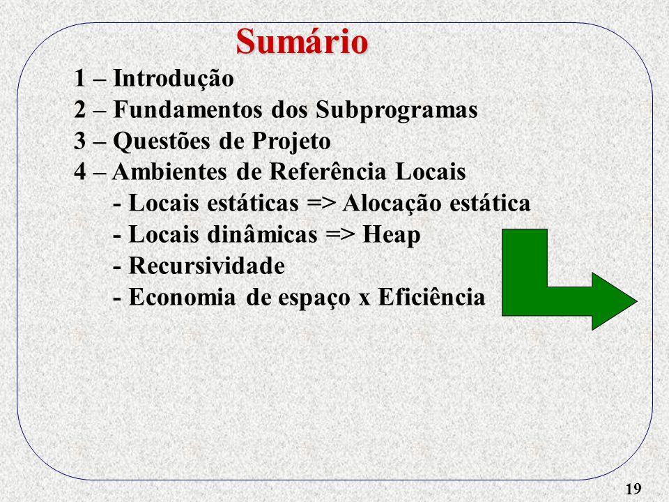 19 1 – Introdução 2 – Fundamentos dos Subprogramas 3 – Questões de Projeto 4 – Ambientes de Referência Locais - Locais estáticas => Alocação estática