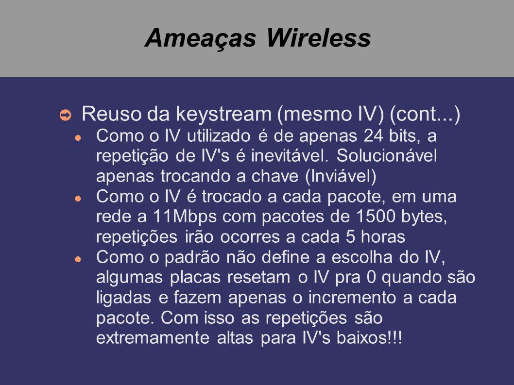 Ameaças Wireless Reuso da keystream (mesmo IV) (cont...) Como o IV utilizado é de apenas 24 bits, a repetição de IV's é inevitável. Solucionável apena