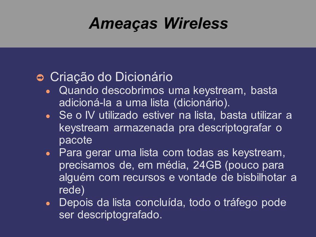 Ameaças Wireless Criação do Dicionário Quando descobrimos uma keystream, basta adicioná-la a uma lista (dicionário). Se o IV utilizado estiver na list