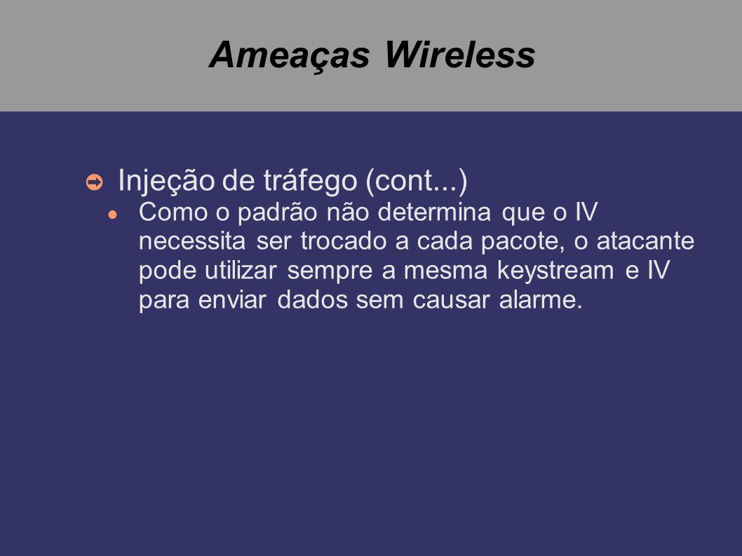 Ameaças Wireless Injeção de tráfego (cont...) Como o padrão não determina que o IV necessita ser trocado a cada pacote, o atacante pode utilizar sempr